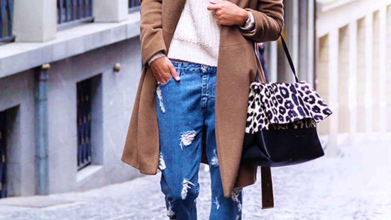 рваные джинсы зимой